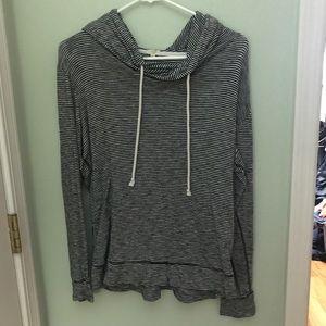 J. Crew black striped pullover hoodie medium